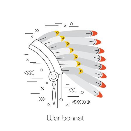 man of war: Native american vector element concept. Tribal line design. Indian symbol set isolated. Culture sign. Man war bonnet Illustration