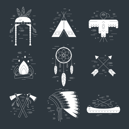 hatchet: Native american vector elements concept black and white. Tribal line design. Indian symbol set isolated. Dreamcatcher arrow hut bonnet hatchet canoe eagle fireplace woman headdress
