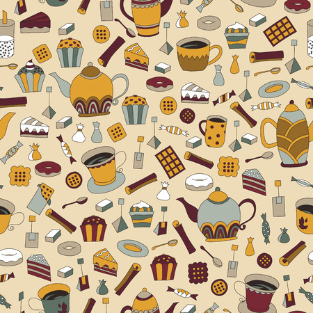 english tea: Seamless pattern with hand drawn sketchy tea theme related elements. Coffee break design background with teapot. Doodle cafe decoration. Stylish texture. English tea colorful print with cup and sweets