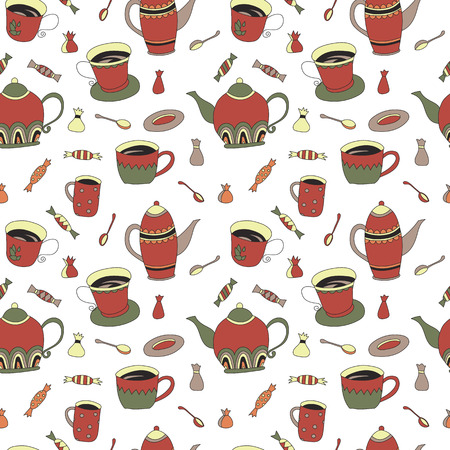english tea: Seamless pattern with hand drawn sketchy tea theme related elements. Coffee break design background with teapot. Doodle cafe decoration. Stylish texture. English tea colorful print with cup and kettle Illustration