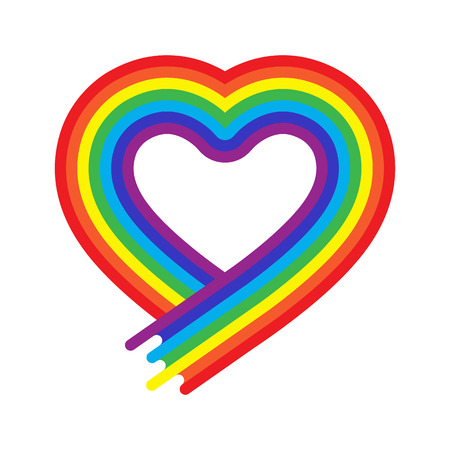homosexual: Vector heart rainbow symbol in flat style isolated. Homosexual love tolerance sign. Lgbt community concept. Multicolor shape. Rainbow color. Free lifestyle Illustration