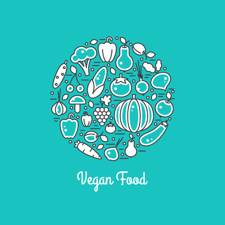 Vegan food vector set. Harvest illustration in line style. Farm nature healty fresh vegetables. Organic fall banner. Autumn festival. Illustration