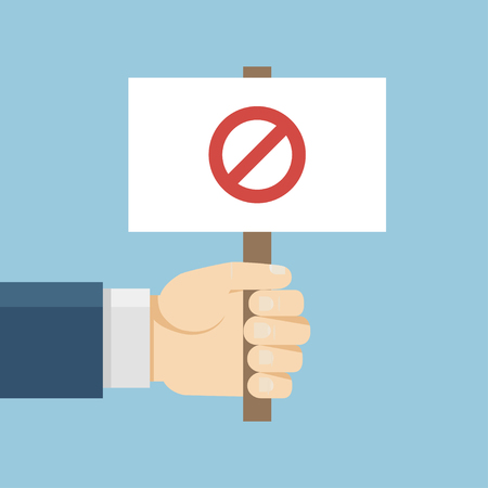 demonstrator: Hand holding protest board in flat style. Vector activist placard illustration. Anger demonstration concept. Stop icon isolated. Conflict banner. Illustration