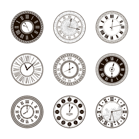 old timer: Vector vintage clock dials set. Classic antique watch isolated. Ancient retro timer design. Traditional silhouette. Old graphic timer object design. Elegant collection