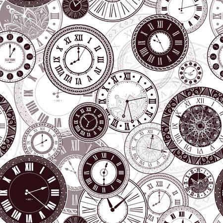 Vector vintage horloge compose seamless pattern. montre ancienne classique isolé. conception de minuterie rétro ancienne. silhouette traditionnelle. Old conception graphique de l'objet de la minuterie. collection élégante Vecteurs
