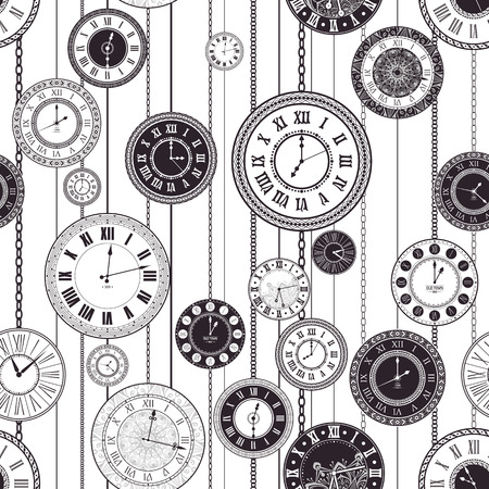 Vector vintage clock dials seamless pattern. Classic antique watch isolated. Ancient retro timer design. Traditional silhouette. Old graphic timer object design. Elegant collection Illustration