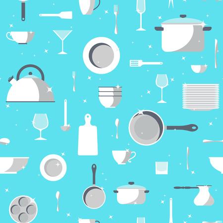 Vector serviesgoed naadloos patroon. Keukenset platte design iconen. Grafische servies elementen. Koken apparatuur set illustratie. Chef collectie geïsoleerd. Bestek teken achtergrond.