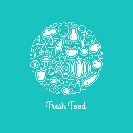 healty: Fresh food vector set. Harvest illustration in line style. Farm nature healty vegan vegetables. Organic fall banner. Autumn festival.