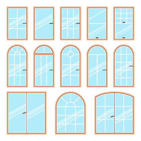 architectural styles: Vector icons set of different types of windows flat style. Architecture frame silhouette isolated. Building element illustration. Home shape design