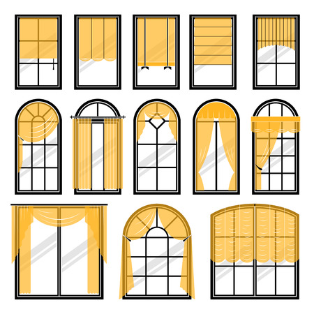 Set of vector curtains different forms. Waving hanging curtains for the window decoration. Interior home fabric design collection. Apartment view drape illustration Illustration