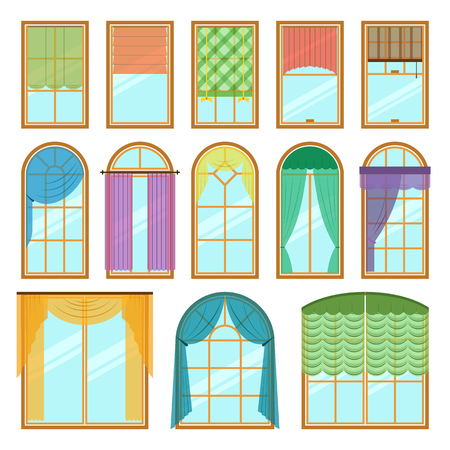 Set of vector curtains different forms in flat style. Waving hanging curtains for the window decoration. Interior home fabric design collection. Apartment view drape illustration Illustration