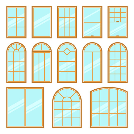 icons set of different types of windows flat style. Architecture frame silhouette isolated. Building element illustration. Home shape design Illustration