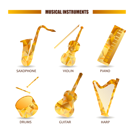 Musical instruments  icon set. Saxophone violin guitar drum piano harp. Triangular objects collection isolated. Melody polygonal illustration. Volume pictogram
