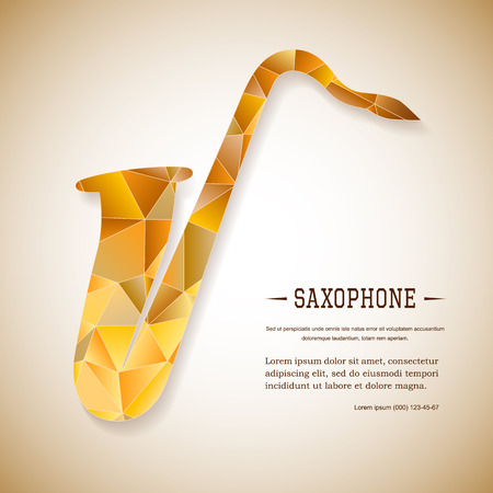 sonata: Music magazine layout flyer invitation saxophone design. Vector musical ornament illustration concept. Art instrument, poster, book, abstract element. Decorative triangular greeting card