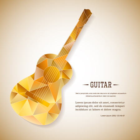 Music magazine layout flyer invitation guitar design. Vector musical ornament illustration concept. Art instrument, poster, book, abstract element. Decorative triangular greeting card