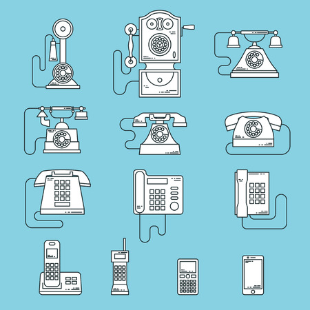 communication devices: Vector illustration of evolution of communication devices from classic phone to modern mobile phone. Retro vintage icons set. Cell symbols silhouettes isolated. Line style.