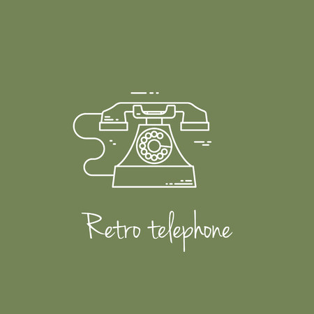 vintage phone: Vector illustration of communication device - classic retro vintage phone icon. Cell symbol silhouette isolated. Line style. Illustration