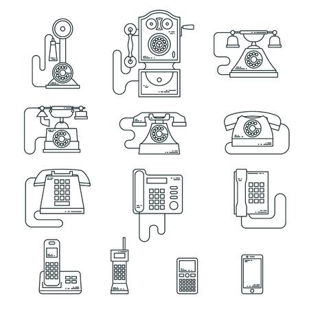 ilustración vectorial de la evolución de los dispositivos de comunicación de teléfono clásico a moderno teléfono móvil. Iconos de época retro. símbolos de células siluetas aisladas. estilo de línea. Ilustración de vector
