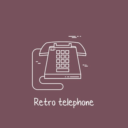 vintage phone: Vector illustration of communication device - classic retro vintage phone icon. Cell symbol silhouette isolated. Line style