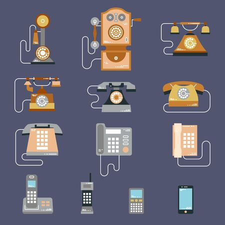 communication devices: Vector illustration of evolution of communication devices from classic phone to modern mobile phone. Retro vintage icons set. Cell symbols silhouettes isolated. Flat style Illustration