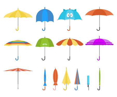 Set of vector cute multicolor umbrellas in flat design style. Closed and open fashion icons. Cover accessory. Modern style. Protection from rain and sun.