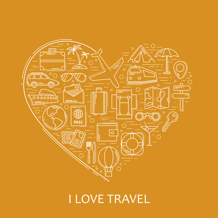 rucksack: Travel line white icons in heart shape. I love travel - vector illustration concept for cover card, brochure or magazine, invitation background. Tourism business element Illustration