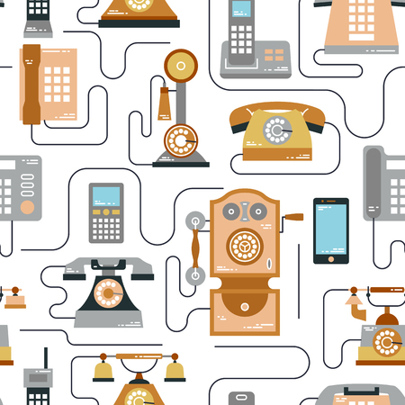 communication devices: Vector illustration of evolution of communication devices from classic phone to modern mobile phone seamless pattern. Retro vintage icons set. Cell symbols silhouettes isolated. Line style.