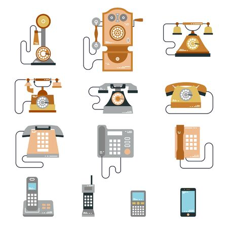 communication devices: Vector illustration of evolution of communication devices from classic phone to modern mobile phone. Retro vintage icons set. Cell symbols silhouettes isolated. Line style Stock Photo