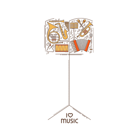 music stand: Flat line music icon set in music stand shape. Vector concept. Modern illustration. Vintage background design. Retro creative sound cover. Musical instrument collection Illustration