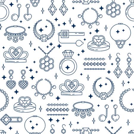 벡터 보석 라인 원활한 패턴의 집합입니다. 다이아몬드 럭셔리 컬렉션 절연입니다. 반지 목걸이 귀걸이 체인 diadem 실루엣. 진주 금은 보석 수정 사파이
