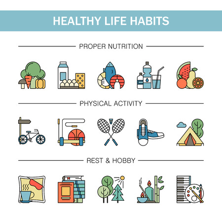 Healthy lifestyle habits colorful line vector icons isolated. Proper nutrition fruit vegetables water seafood. Physical activity sport outdoor exercise fitness. Rest and hobby sleep reading spa. Vectores