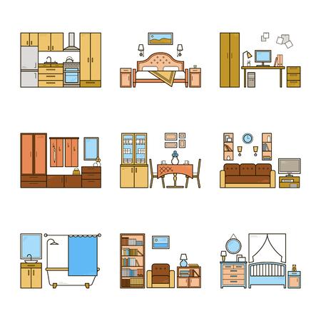 Conjunto de habitaciones de diseño interior de vector en estilo colorido de línea. Ilustración armónica de la sala de estar, pasillo, comedor, dormitorio, cocina, guardería, gabinete, espacio de trabajo, baño