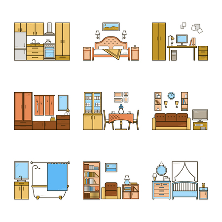 Set of vector interior design rooms in line colorful style. Harmonic illustration of living room, hallway, dining room, bedroom, kitchen, nursery, cabinet, workspace, bathroom