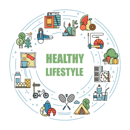 Healthy lifestyle habits colorful line vector icons. Proper nutrition, physical activity, rest and hobby. Energetic and natural life. Organic sign isolated. Good diet