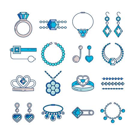 108495e41520  72686839 - Conjunto de iconos de línea de joyería de vector. Colección de  lujo del diamante en color azul aislada en blanco. Anillo collar pendientes  ...