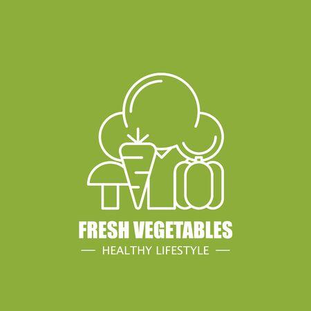 Fresh vegetables food vector logo design template. Modern linear branding element for healthy lifestyle company or food manufacturer. Vegetarian elements illustration