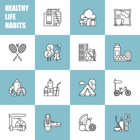 Healthy Lifestyle Habits Black And White Line Vector Icons Stock
