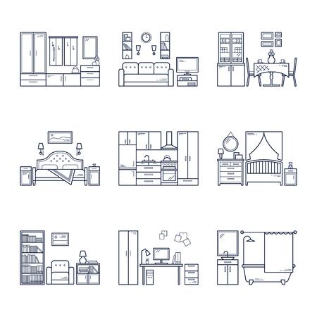 Set of vector interior design rooms in line black and white style. Illustration of living room, hallway, dining room, bedroom, kitchen, nursery, cabinet, workspace, bathroom.