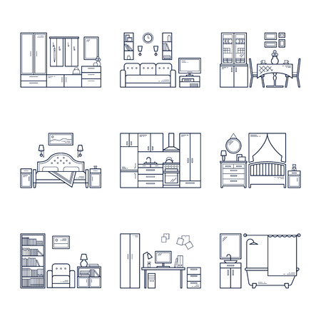 Set of vector interior design rooms in line black and white style. Illustration of living room, hallway, dining room, bedroom, kitchen, nursery, cabinet, workspace, bathroom.