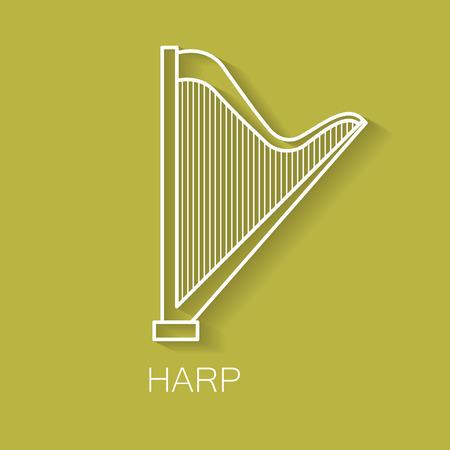 arpa: Icono de línea retro instrumento musical. Forma de arpa Objeto musical clásico. Vector de fondo de diseño decorativo. Portada de revista. Concepto de marketing.
