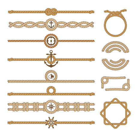 Nautical vintage rope vector dividers and elements. Design of border frame illustration.