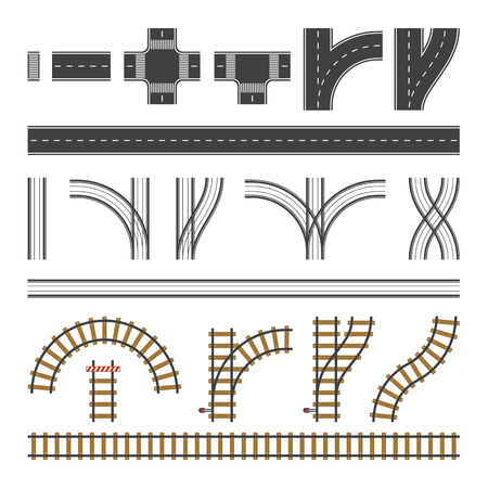Constructor roads set. Flat road elements. Create your own city and rail road. Connectable road elements. Vector illustration