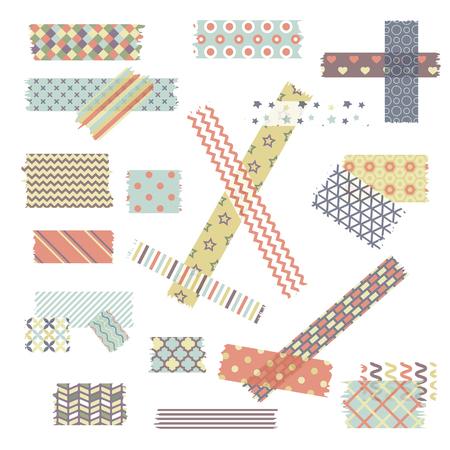 Scotch, color patterned adhesive tape collection, different size pieces isolated on white background. Vector set of torn paper edges.