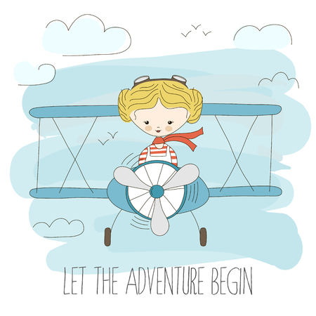 Cute little girl flying a plane on sky. Hand drawn cartoon vector illustration. Let the adventure begin. Fantasy summer poster. Child dream or imagination. Travel inspiration .