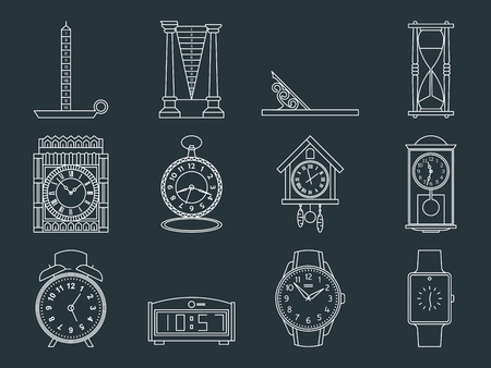vintage telephone: Time and clocks signs set. Watch icons. Flat line style illustrations isolated. From retro to modern collection. Classic hourglass and digital design