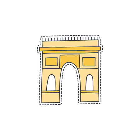 triumphal: Hand drawn patch badge with France symbol - Triumphal arch. Sticker, pin and patche in cartoon 80s-90s comic style Illustration