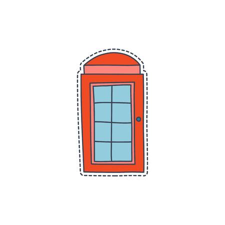 手には、イギリスのシンボル - 赤い電話ボックスが付いているパッチ バッジが描画されます。ステッカー、ピン、パッチの漫画で 80 ~ 90 年代のコミ