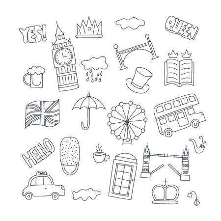 手はバス冠雲帽子フラグ傘カップ茶、赤い電話ボックス タワー ブリッジ ビッグベンのイギリスのシンボル - を持つオブジェクトを描画します。ス
