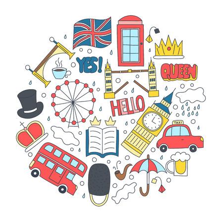 Badges dessinés à la main avec les symboles du Royaume-Uni - bus couronne nuage chapeau drapeau parapluie tasse de thé, boîte téléphonique rouge Pont de la tour Big Ben. Autocollants, épingles et patchs en style dessin animé.