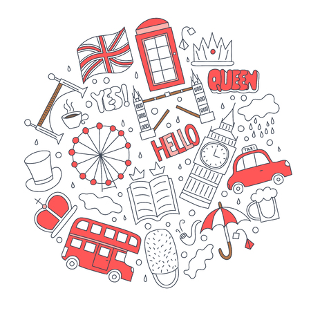Hand drawn badges with United Kingdom symbols - bus crown cloud hat flag umbrella cup of tea, red telephone box Tower bridge Big Ben. Stickers, pins and patches in cartoon 80s-90s comic style. Illustration